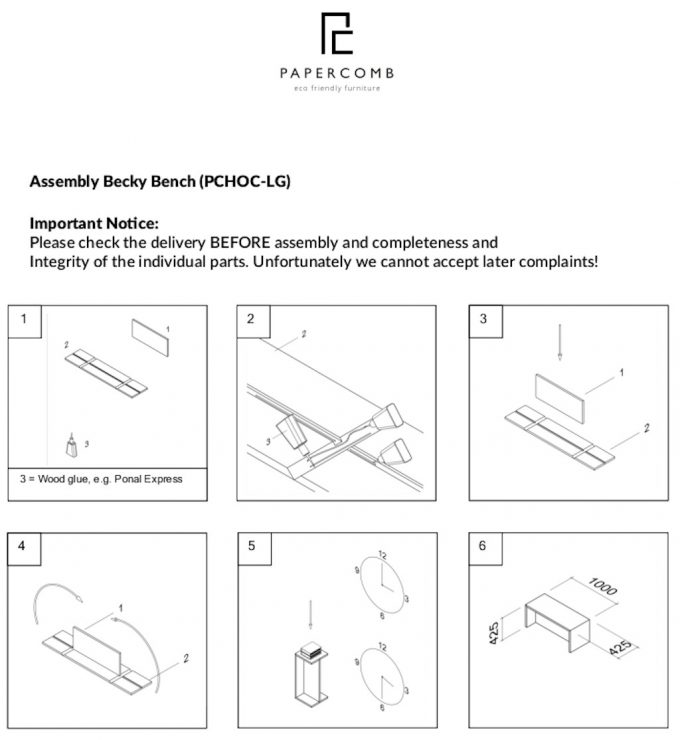Papercomb Assemly Becky Bench v2